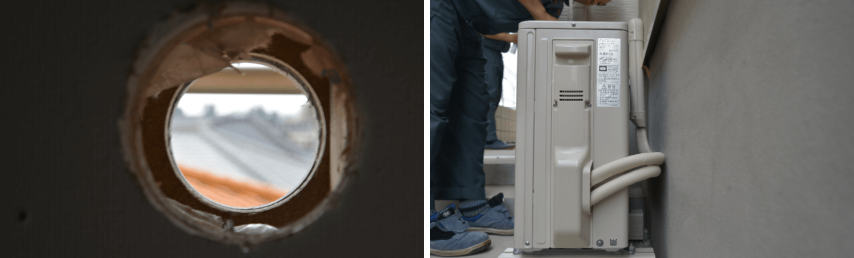 エアコンの穴と室外機